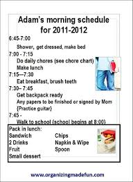 Sample Of 12 Year Old Morning Schedule Chore Chart Kids