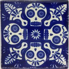 ceramic tile handmade. Exellent Handmade Mexican Day Of The Dead Blue Calavera Handmade Ceramic Tile With A