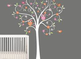 kids wall decals nursery tree decal with flowers by nurserywallart on nursery wall art tree decal with 27 tree wall decal kids tree wall decal nursery tree and birds wall