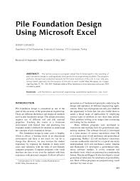 Pile Design Spreadsheet Pdf Pile Foundation Design Using Microsoft Excel