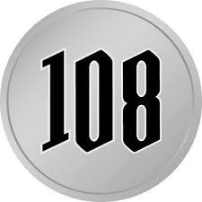 108と書かれた百円玉風硬貨のイラスト 無料商用可能メダル