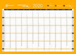 Planner 2020 Template Wall Calendar Yearly Planner Template For 2020 Vector Design