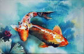 batik style watercolor technique how to paint a large koi joy carp using a