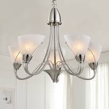 5 light silver iron modern chandelier with glass shades hkp31262 5