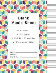 Music Writing Paper Blank Music Sheet 12 Staves Music Writing Pad Each Pages With 100 Pages Manuscript Paper Staff Paper Musicians Notebook Beautiful Rainbow Cube