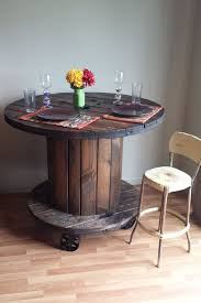 reclaimed wood cable spool pub dining table bar by rugon