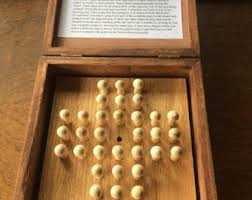 Wooden Peg Solitaire Game Wood solitaire game Etsy 36