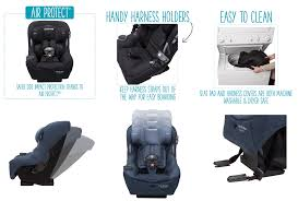 handy harness holders keeps the strap away and a flip away buckle allows you to get your child in and out of the pria 85 max this convertible car seat fits