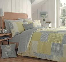 appletree yellow grey duvet cover patchwork reversible easy care quilt set 100 cotton parker