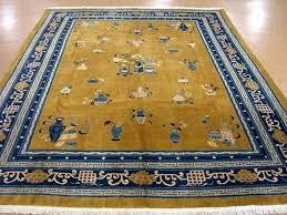 oriental rug antique art hand knotted wool yellow mustard blue oriental rug