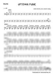 Mark Ronson Bruno Mars Uptown Funk Drum Sheet Music 2019