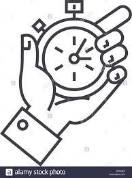 La gestion du temps, le chronomètre en main l'icône de la ligne du vecteur,  signe, illustration de fond, coups modifiable Image Vectorielle Stock -  Alamy