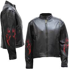 las black leather racer style motorcycle jacket with red tribal flames sizes xs to 4xl