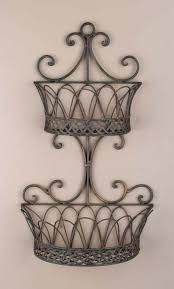 wrought iron metal double wall baskets