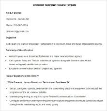 sample broadcast technician resume template media resume template