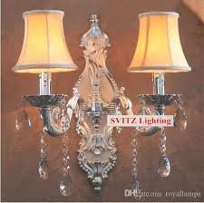 2018 svitz bar vintage silver wall candle lights large coffee decorative wall sconce hotel ktv wall lamp shade mirror lights arandela from royallamps