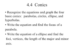 4 4 conics recognize the equations and graph the four basic conics parabolas circles