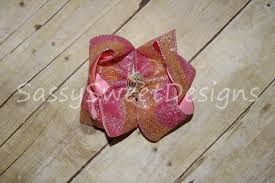 Sassy Sweet Designs Ssd Pink Gold Glitter Sparkle Boutique Hairbow Hair Bow