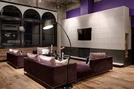 gray porcelain tile with purple accent wall
