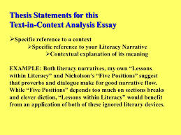 thesis statements for this text in context analysis essay ppt  thesis statements for this text in context analysis essay