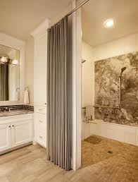 burlap shower curtain bathroom transitional with gray countertop widespread faucet shower seat