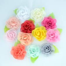 <b>Yundfly 10pcs</b> Chic Chiffon Flower with Green Leaf Handmade ...