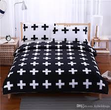 black cross home bedding set white bedclothes super soft cover for bed bedroom twin full queen king beddings funky duvet covers velvet duvet cover from