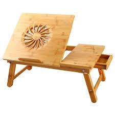 laptop desk nnewvante adjule laptop desk table 100 bamboo with usb fan foldable breakfast serving