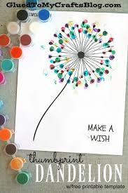 Thumbprint Dandelion - Kid Craft w/free printable. Toddler Painting IdeasKids  ...