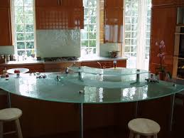 Two Level Kitchen Island Fusion Glass Countertop Brooks Custom