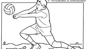 Volleyball Color Pages Volleyball Coloring Pages Top Spin Serve Player Disney Easy Vol