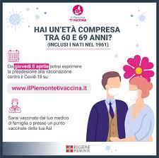 Il Piemonte ti vaccina - preadesione età compresa tra 60 e 69 anni - Comune  di Pavone Canavese