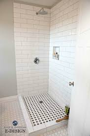 small bathroom shower subway tile hexagon and benjamin moore gray cashmere paint colour kylie m e design and colour expert