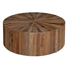 cyrano reclaimed wood round drum modern eco coffee table kathy kuo pertaining to wooden decorations 1
