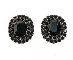Vintage clip earrings jet black rhinestone