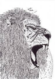 Pentekening Van Een Brullende Leeuw Getekend Door Brigit Weeda
