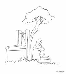 Small Picture Drawing water from well Coloring page Pitara Kids Network