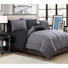 geneva home fashion solid 9 piece gray black king bed in a bag