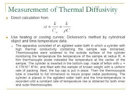measurement of thermal diffusivity direct calculation from use heating or cooling curves erson s method by