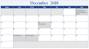 united kingdom december 2018 calendar with holiday