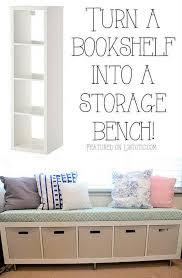 diy bookshelf bench seat with storage bins