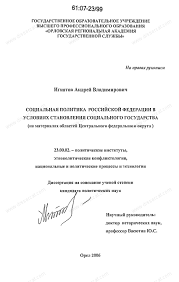 Диссертация на тему Социальная политика Российской Федерации в  Диссертация и автореферат на тему Социальная политика Российской Федерации в условиях становления социального государства