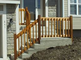 exterior wood railing. diy wooden porch handrail ideas | wood railing and concreate steps exterior a