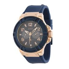 guess mens watch rigor rose gold blue strap buy watches guess mens watch rigor rose gold blue strap