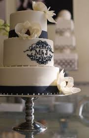 monogrammed wedding cakes. monogrammed joint initial cake in white and navy blue wedding cakes
