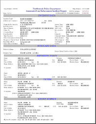 Printable Sample Police Report Template Form Police Report