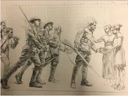 detail from sabin howard s drawing for the bas relief on the new national world war one memorial in washington us world war i centennial mission