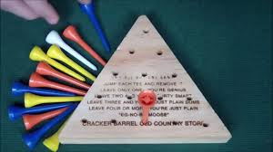 Wooden Triangle Peg Game Beat the Cracker Barrel Peg Game aka Triangle Peg Solitare in 100 17