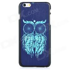 Owl patterned protective pc back case cover for iphone 6 plus black ...
