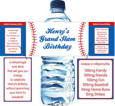 waterbottle labels baseball theme water bottle label